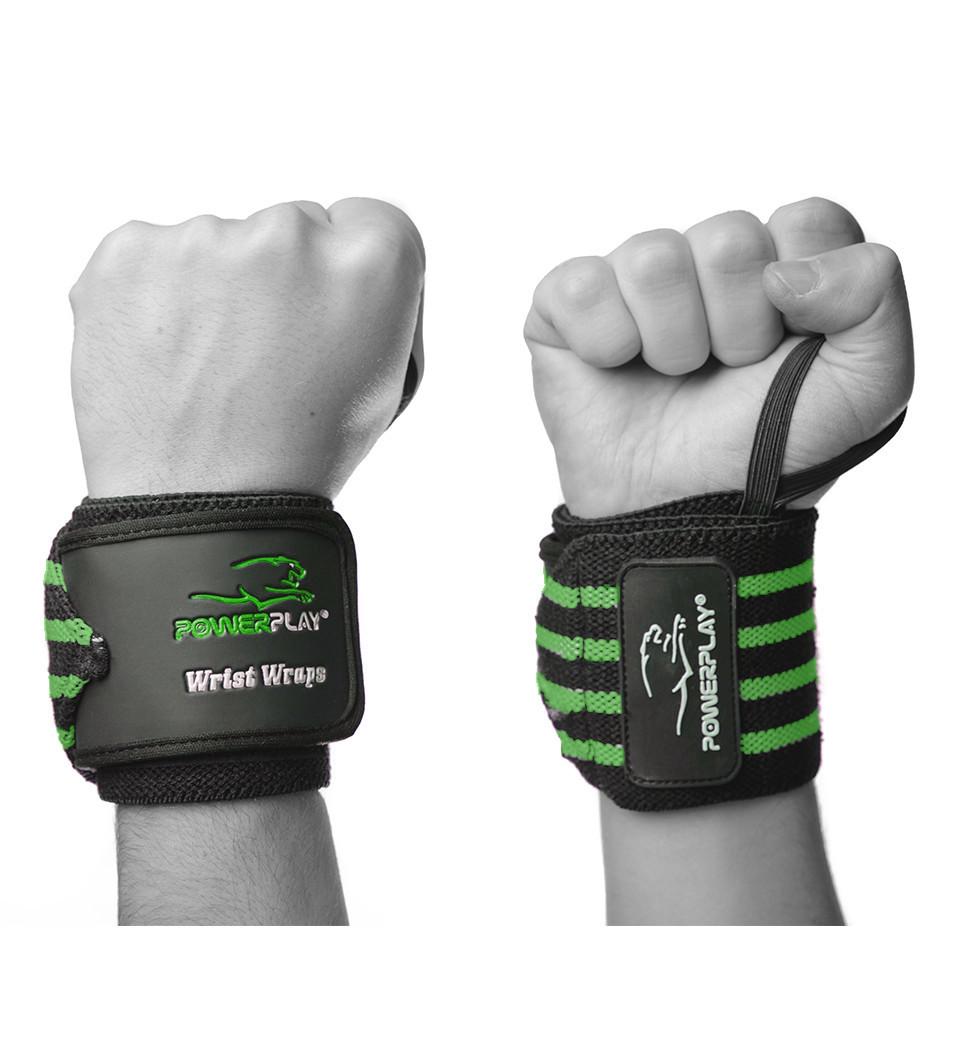 Бинты для запястий PowerPlay 3081 Черно-Зеленые