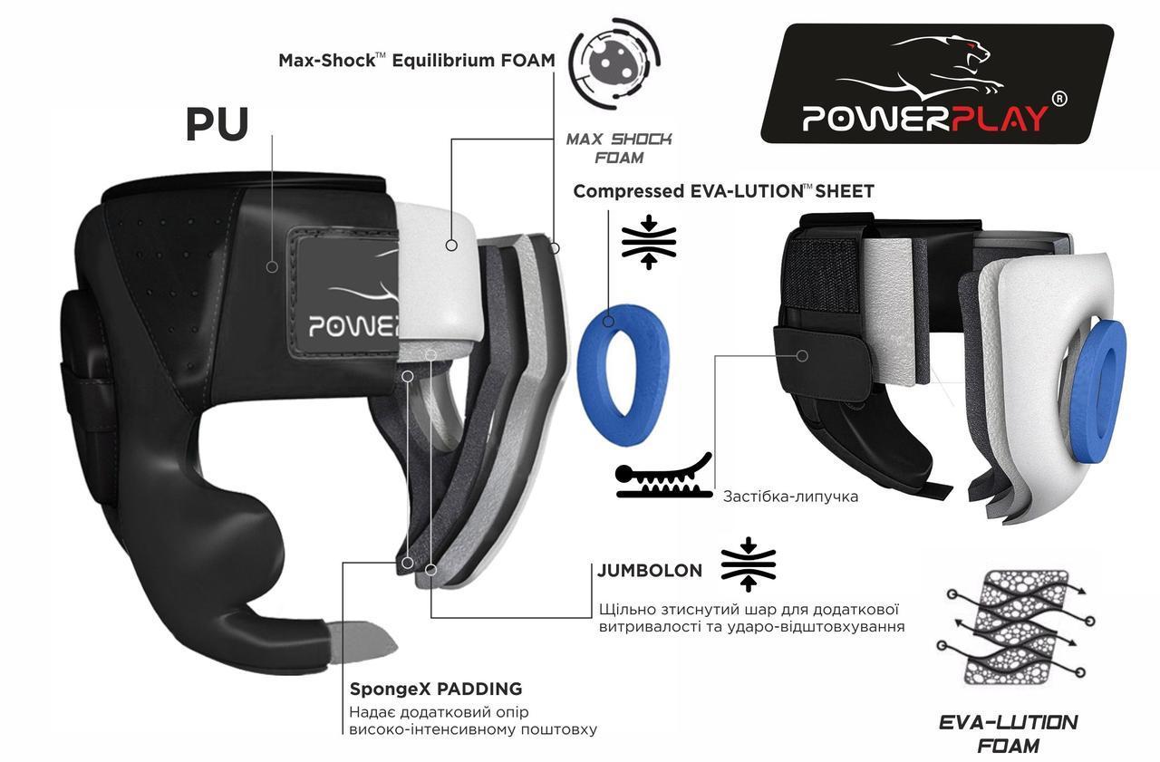 Боксерский шлем PowerPlay 3100 PU Черно-зеленый XS