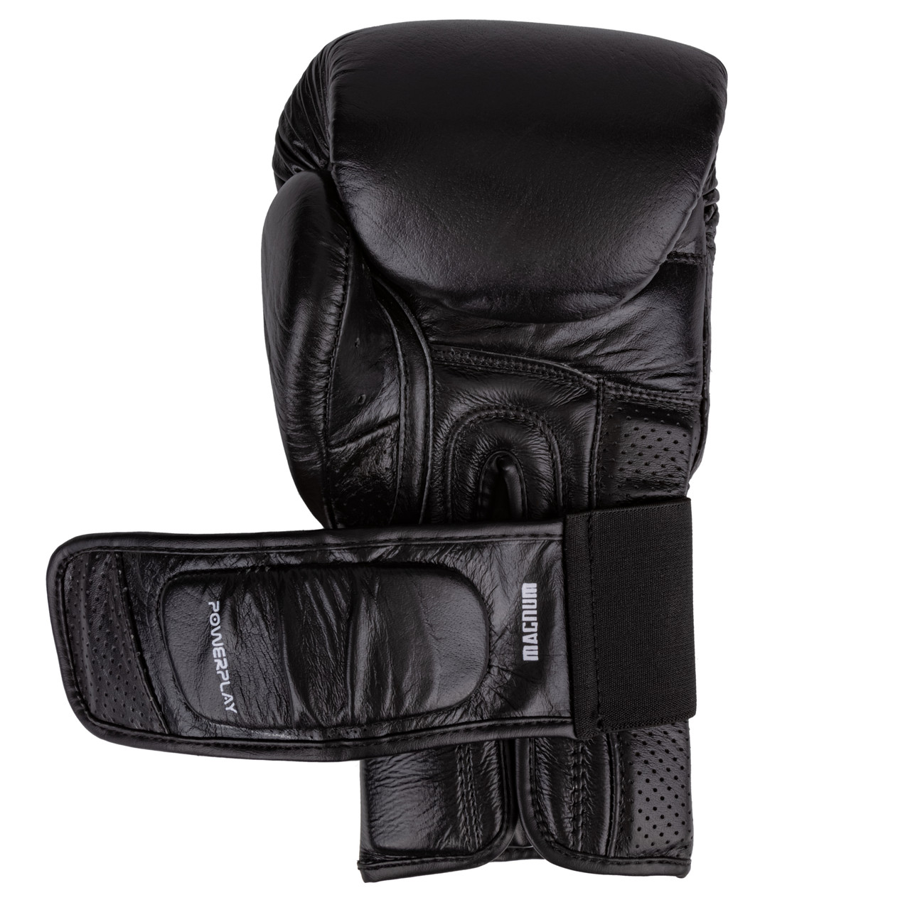 Боксерские перчатки PowerPlay 3087 Magnum Черные [кожа] 10 унций