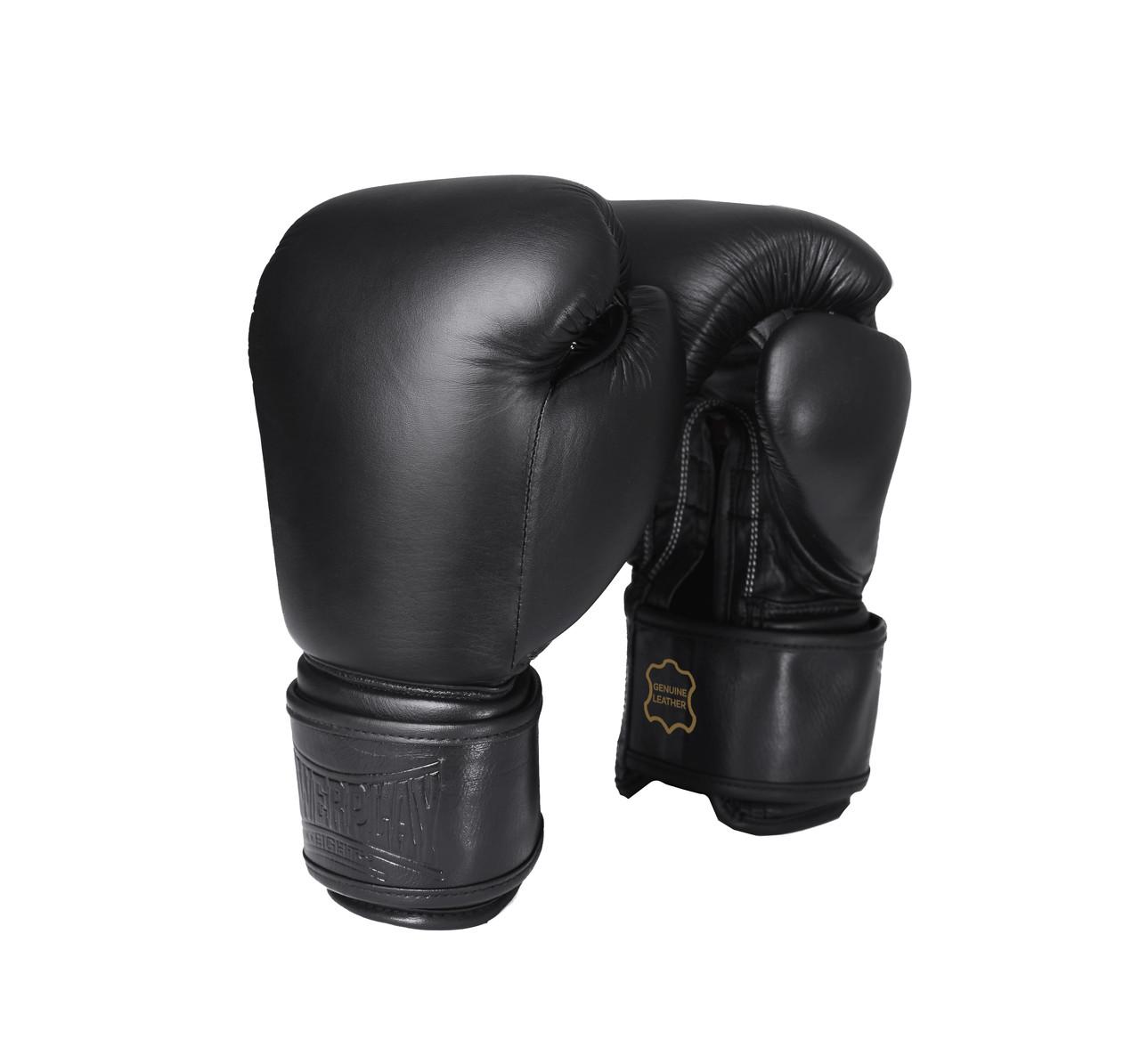 Боксерские перчатки PowerPlay 3014 черные (кожа) 10 унций