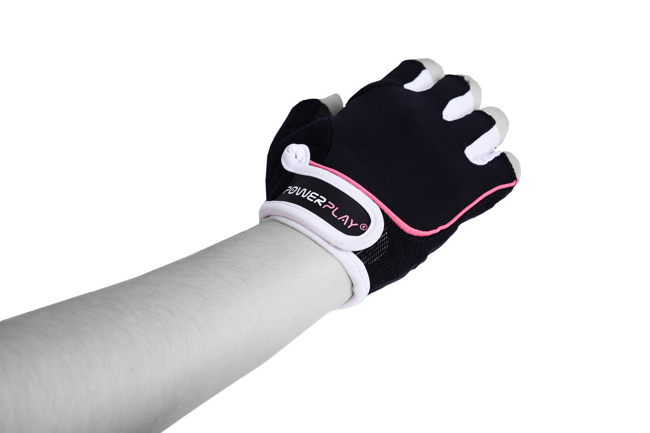Перчатки для фитнеса PowerPlay 1750 женские черно-розовые XS