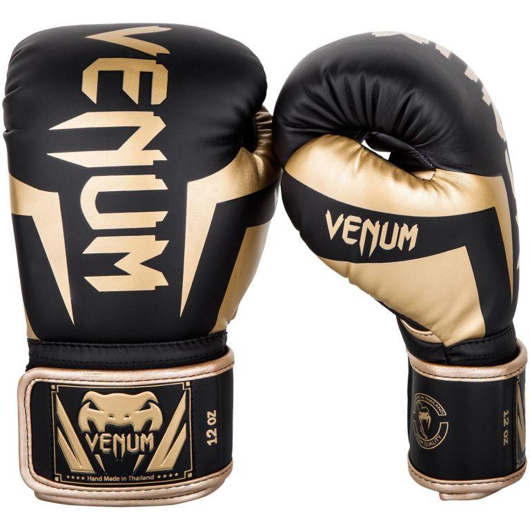 Боксерские перчатки Venum Elite Boxing Gloves Black Gold-12