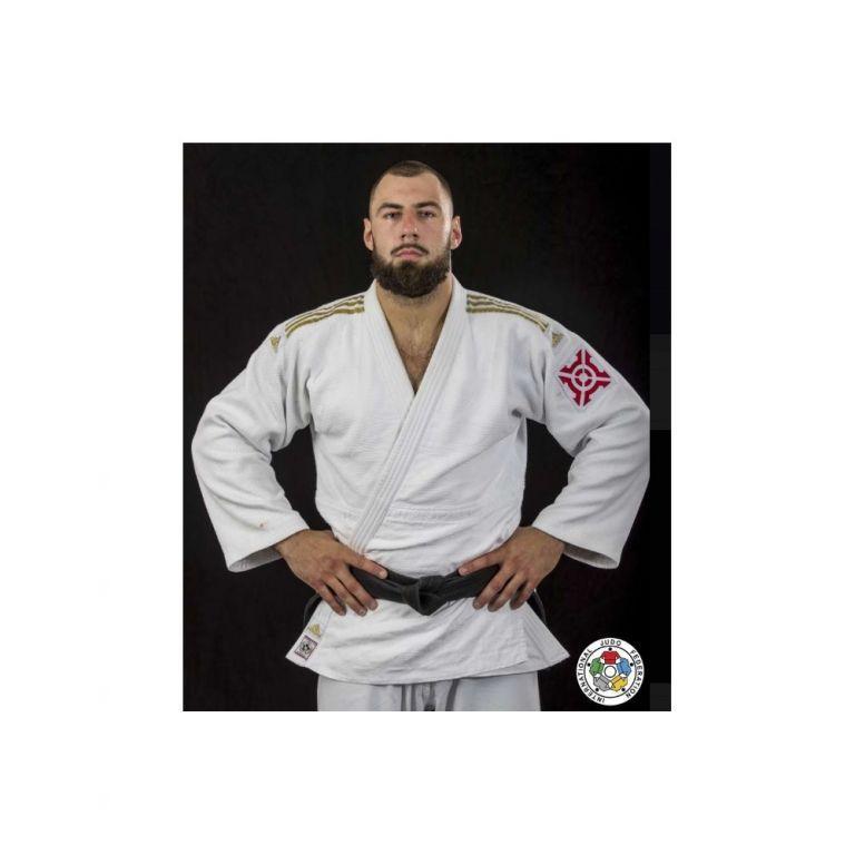 Кимоно для дзюдо Champion 2, золотые полосы (белое, J-IJF-SMU)-160