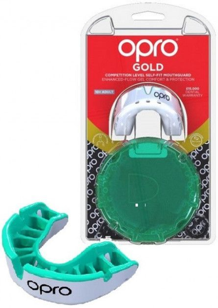 Капа OPRO Gold Series White/Mint-взрослая