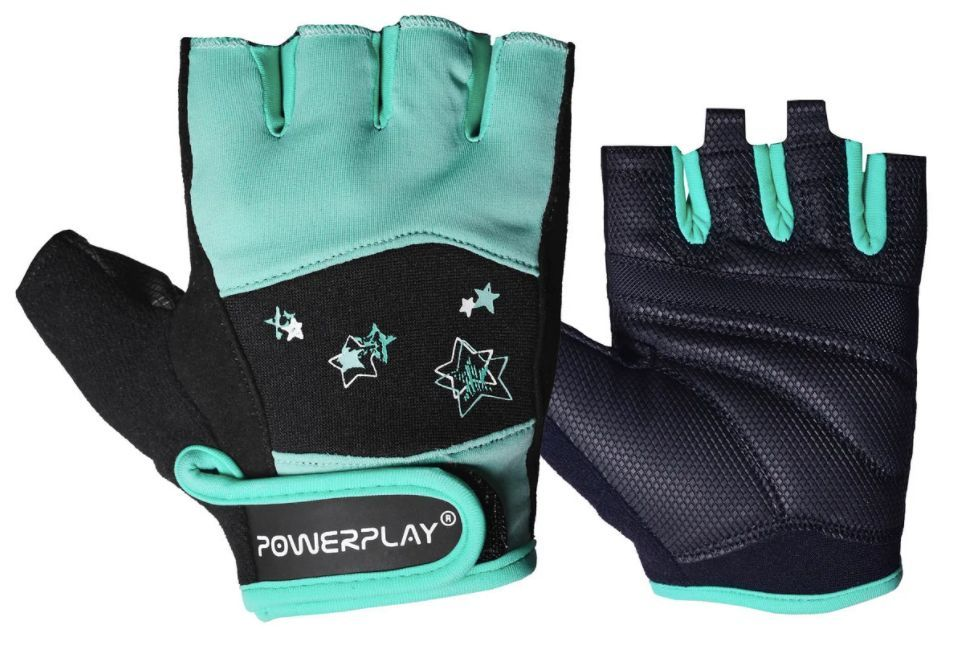 Фитнес перчатки женские Powerplay 3492 Черно-мятный-XS