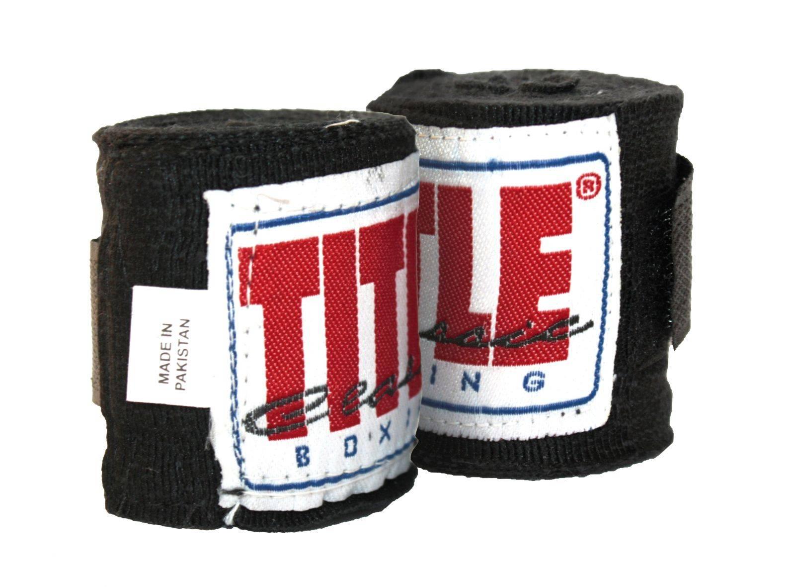 Бинты боксерские TITLE Classic Elite Mexican 2,75м-черный